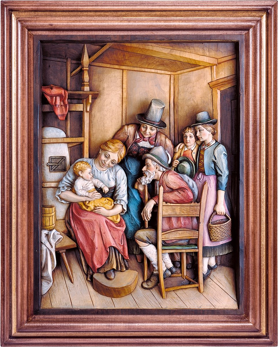 Besuch der Großeltern mit Rahmen - Reliefs - Deur - Online Shop