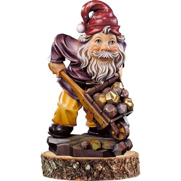 Gnome gold-digger on pedestal