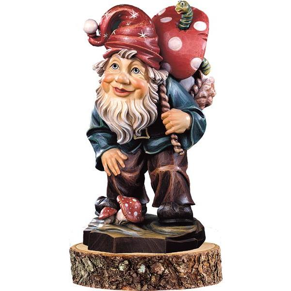 Gnome mushroom-picker on pedestal
