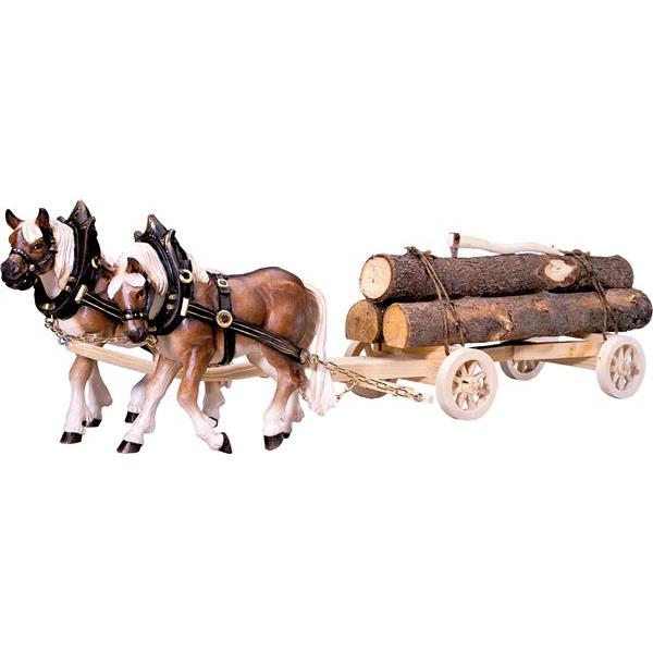 2 Draw-horses with woodcart