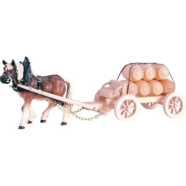 1 Draw-horse with cart and barrels